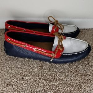 Sperry Leather Red, White and Blue Boat Shoe